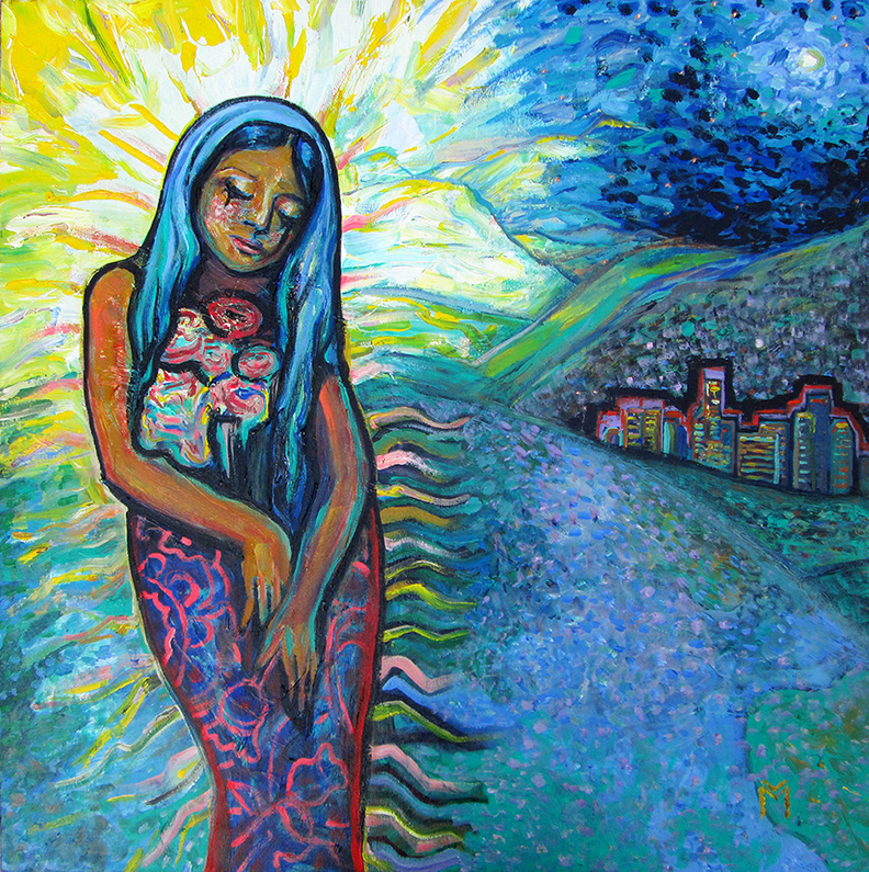 "Our Lady of Guadalupe, L.A., Acrylic on Canvas  36"" x 36"""
